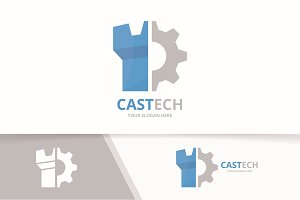 Vector castle and gear logo combination. Tower and mechanic symbol or icon. Unique fortress and industrial logotype design template.