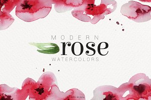Modern Rose watercolor clipart
