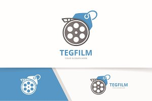 Vector movie and tag logo combination. Cinema and shop symbol or icon. Unique film and label logotype design template.