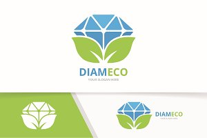 Vector diamond and leaf logo combination. Jewelry and eco symbol or icon. Unique gem and organic logotype design template.
