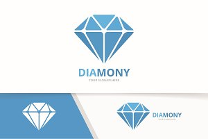 Vector diamond logo combination. Jewelry symbol or icon. Unique gem logotype design template.