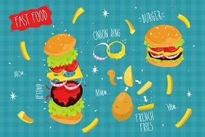 Set Fast Food. Vector illustration