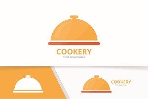 Vector dish logo combination. Plate symbol or icon. Unique kitchen logotype design template.