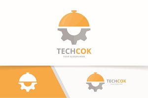 Vector dish and gear logo combination. Plate and mechanic symbol or icon. Unique kitchen and industrial logotype design template.
