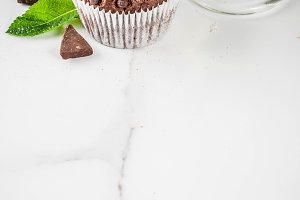 Mint and chocolate muffins