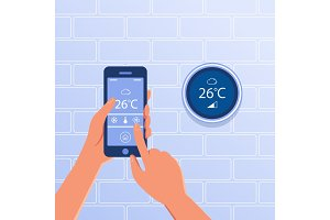 Smart thermostat as smart home concept.
