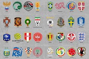Soccer Team Logos - Vector + Grunge