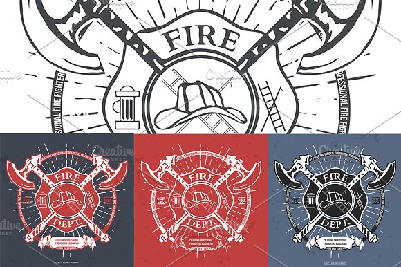Fire Dept. Label - Illustrations