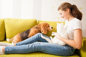 good relationship between the girl and her pets