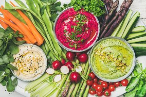Healthy summer vegan snack plate for vegetarian party