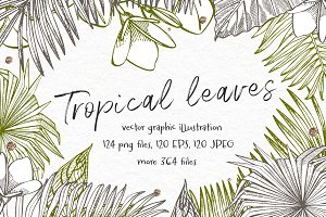 Tropical leaves vector design