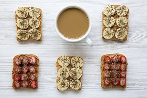 Vegan toasts with cup of coffee