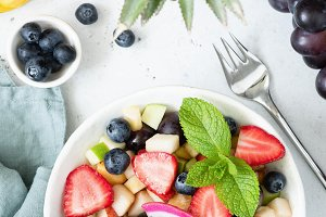Fruit salad with tropical fruits