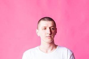 Man portrait in white t-short