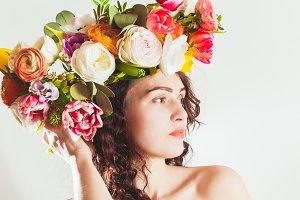 beauty woman portrait with wreath