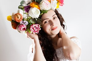 beauty woman in the wreath