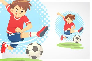 Soccer Boy Shooting The Ball