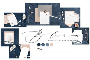 BLUE. WEDDING MOCKUPS BUNDLE.