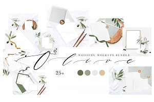 OLIVE. WEDDING MOCKUPS BUNDLE.