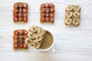 Vegan toasts with latte on white