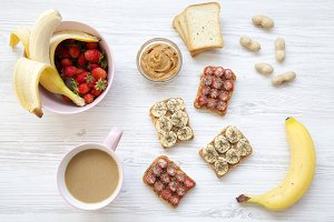 Top view healthy breakfast: latte