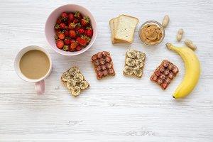 Healthy breakfast with latte. Vegan
