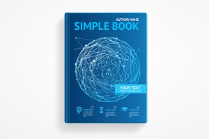 Vector science book with sphere.