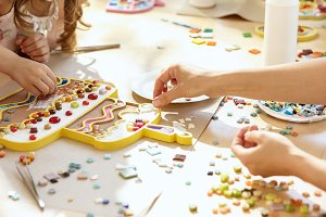 mosaic puzzle art for kids, children's creative game.