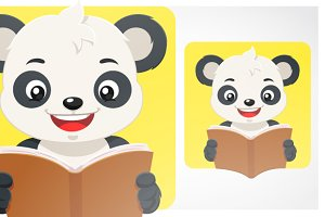 Little Panda Bear Reading A Book