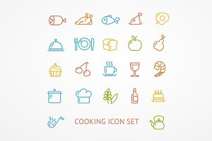 Vector cooking outline icon set