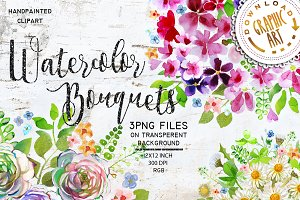 Watercolor Bouquet Clipart Handpaint