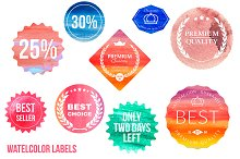 Set of watercolor shopping icons