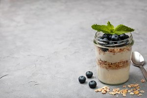 breakfast with muesli and blueberrie