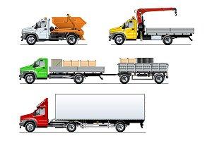 Vector spec trucks set isolated on white