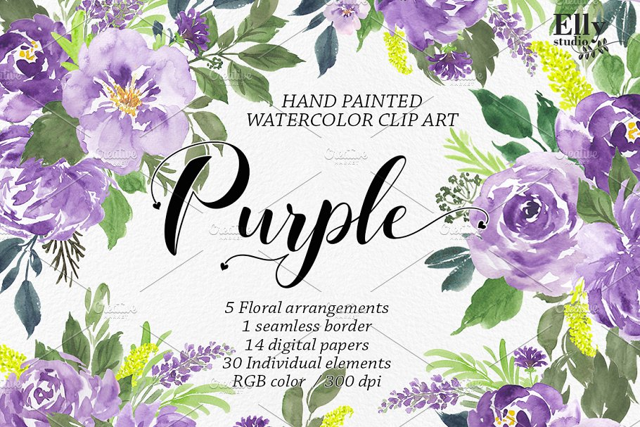 Purple Watercolor Flowers Clip Art