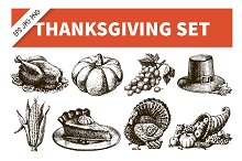 Thanksgiving Hand Drawn Vintage Set