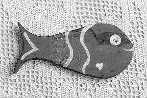 Fish Figure Detail in Black White
