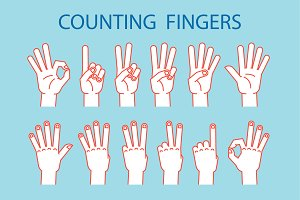 Counting Fingers. Icon set.