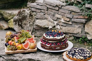 Homemade cake with berries and fruit