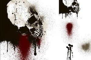 Skull, Drips, and Splatters