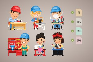 Set of Cartoon Workers