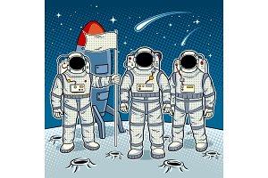 Tintamarresque astronauts on moon pop art vector
