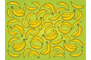 Banana background cartoon vector illustration