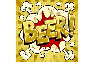 Beer word comic book pop art vector illustration