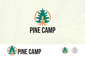 Bonfire Camp in Pine Forest Logo