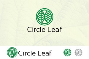 Circle Leaf Pair Outline Logo