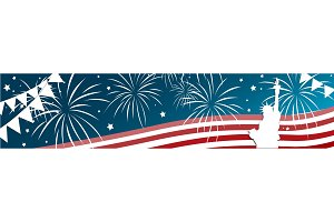 Independence day of the usa 4 th july banner