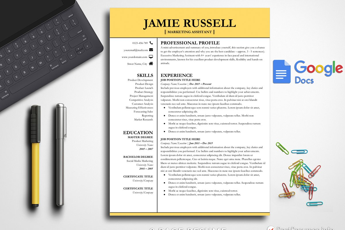Professional Resume Google Docs Resume Templates