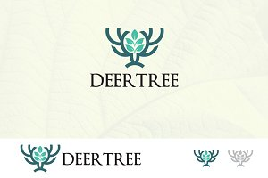 Green Nature Tree Deer Horn Logo