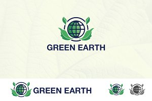 Green World Earth Planet Logo
